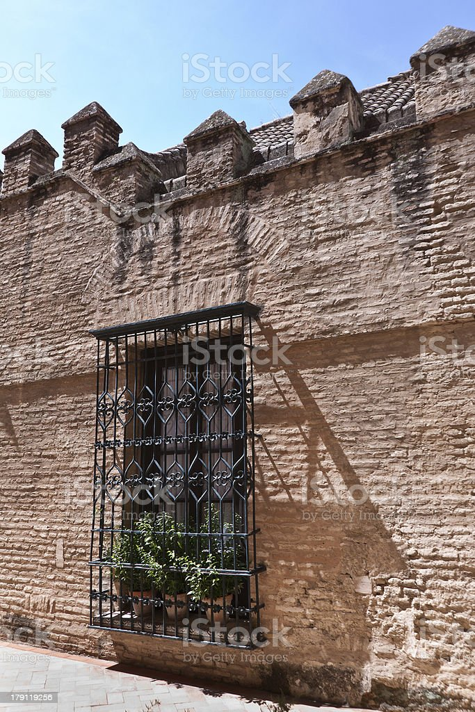 Andalosia window on wall with shadow, Spain royalty-free stock photo