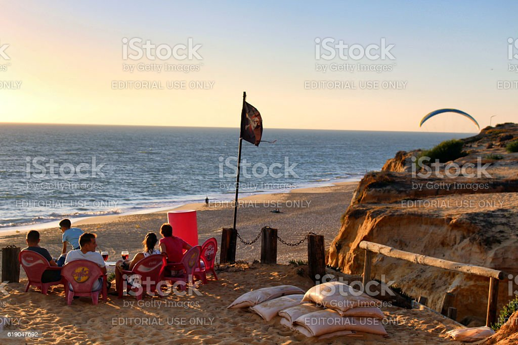 Andalusia beach bar sunset stock photo
