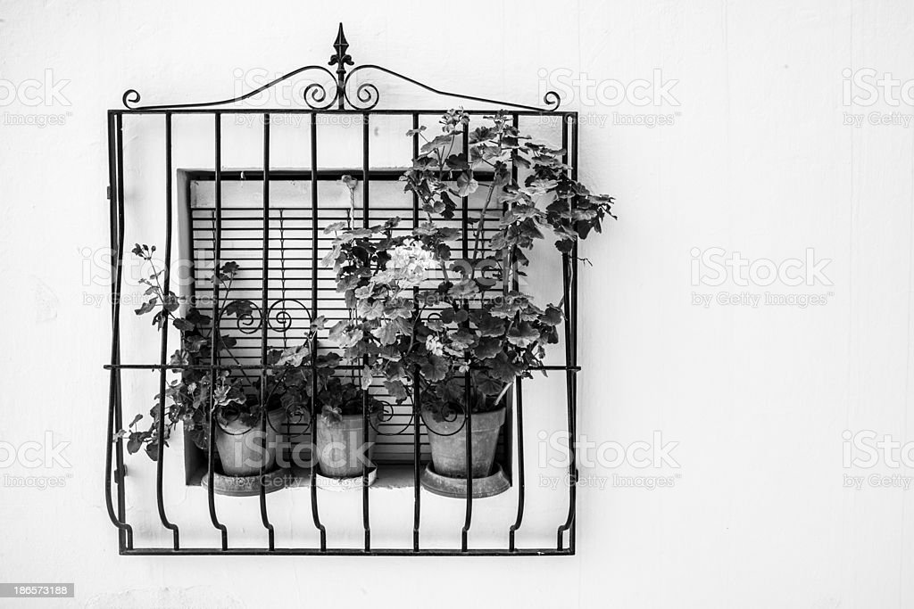 Andalusia: geraniums on window sill royalty-free stock photo