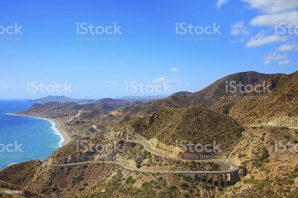 Andalusia landscape. Parque Cabo de Gata, Almeria. stock photo