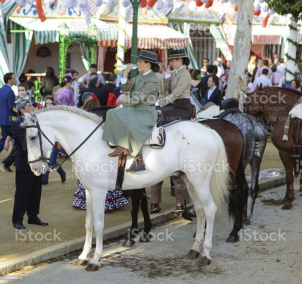 Andalusian amazons during April Fair of Seville stock photo