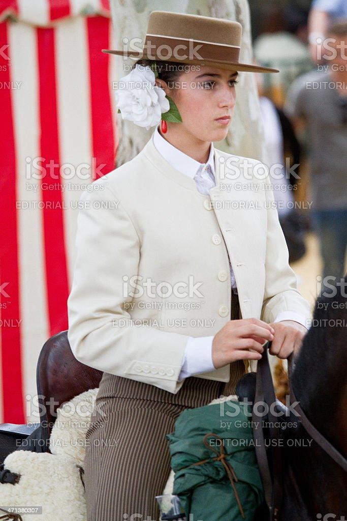 Andalusian teen amazon April Fair Seville stock photo