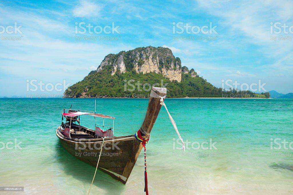 Andaman island and fisherman boat stock photo