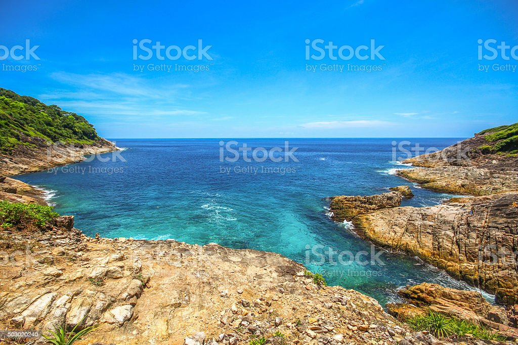 Andaman sea from view point of Tachai Island stock photo