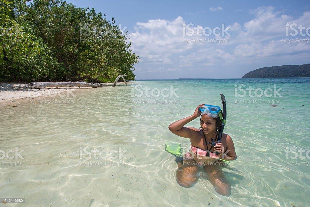 Andaman_girl_Snorkel stock photo