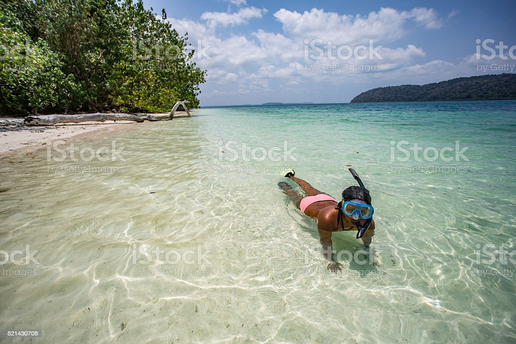 Andaman_snorkel_girl stock photo