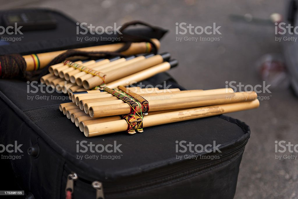 Andean flute stock photo