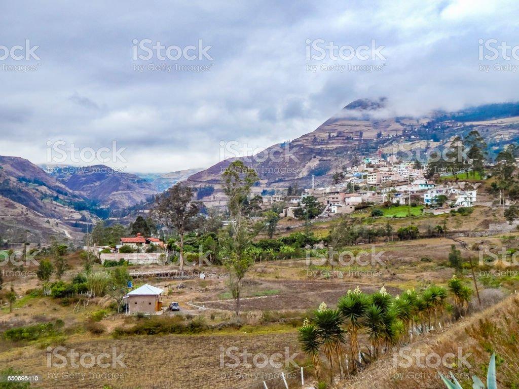 Andean Scene at Alausi Town, Ecuador stock photo
