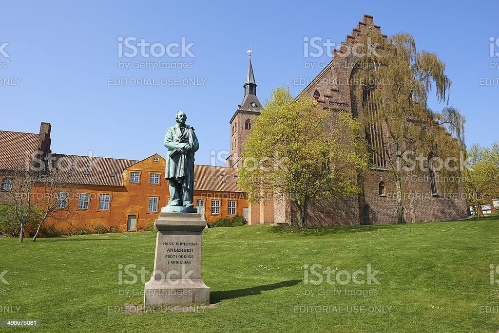 H. C. Andersen And St. Knud's Cathedral stock photo