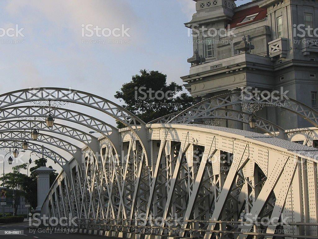 Anderson Bridge near Fullerton Hotel Singapore royalty-free stock photo