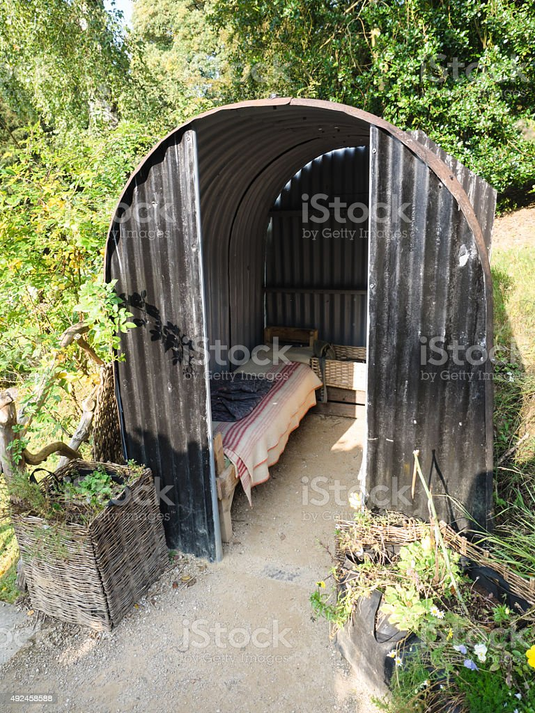 Anderson Shelter stock photo