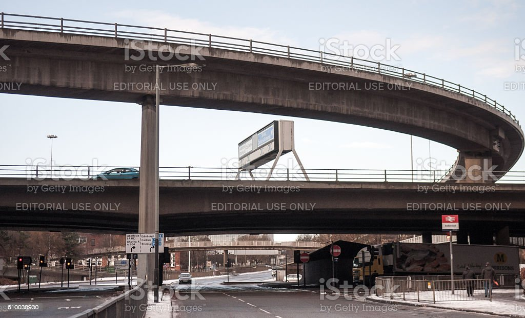 Anderston motorway intersection in Glasgow stock photo