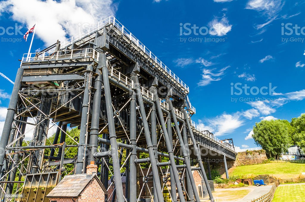 Anderton Boat Lift, canal escalator stock photo