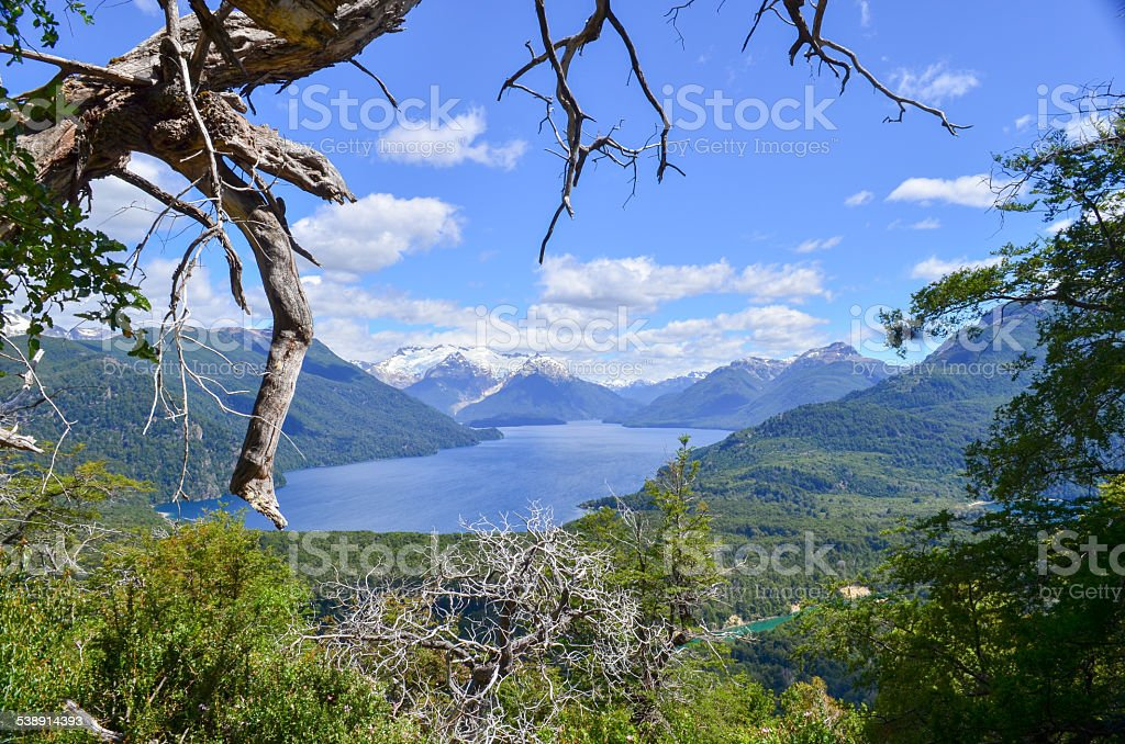 Andes mountain range and lakes in Esquel, Patagonia stock photo