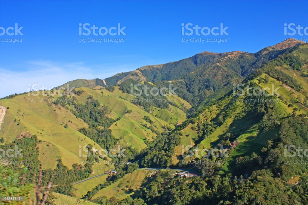 Andes Mountains in National Natural Park Snow, Colombia stock photo