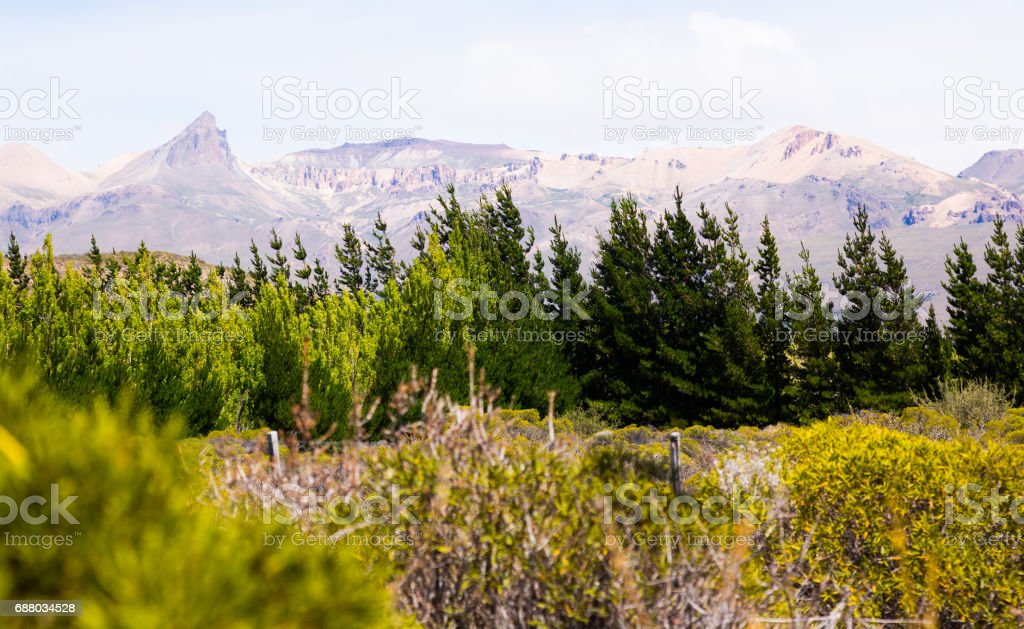 Andes mountains on border with Chile, Los Antiguos stock photo