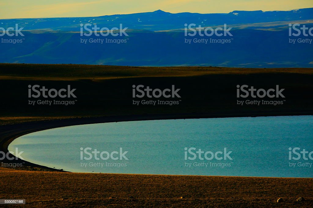 Andes sunset, lake argentino at spring,  Chalten, Patagonia, Los Glaciares stock photo