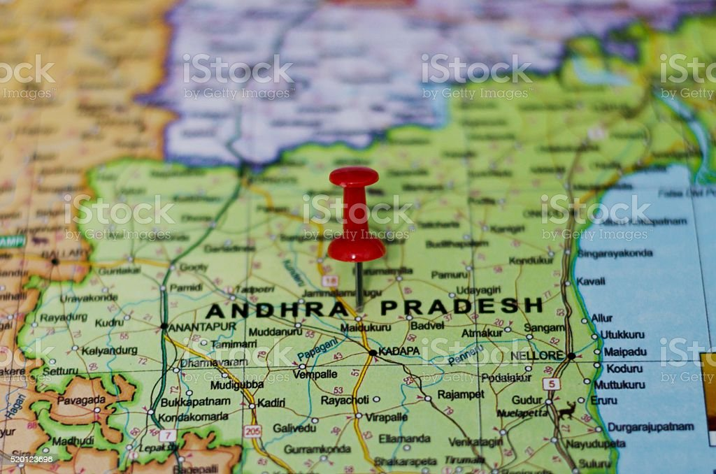 Andhra Pradesh Marked on Map with Red Pushpin stock photo
