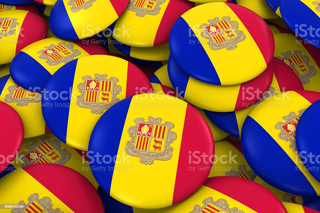Andorra Badges Background - Pile of Andorran Flag Buttons stock photo