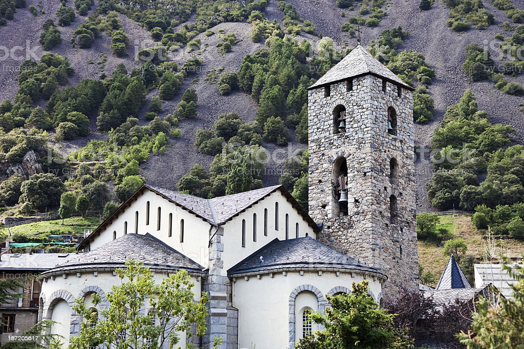 Andorra Church of Sant Esteve stock photo