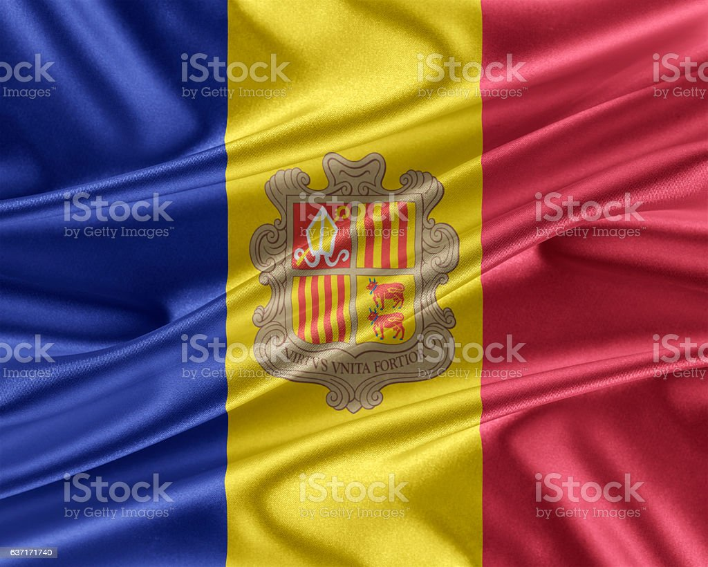 Andorra flag with a glossy silk texture. stock photo