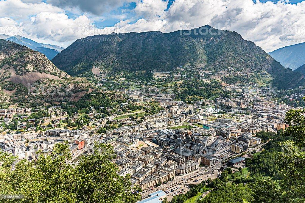 Andorra la Vella City Center Pyrenees Mountains stock photo