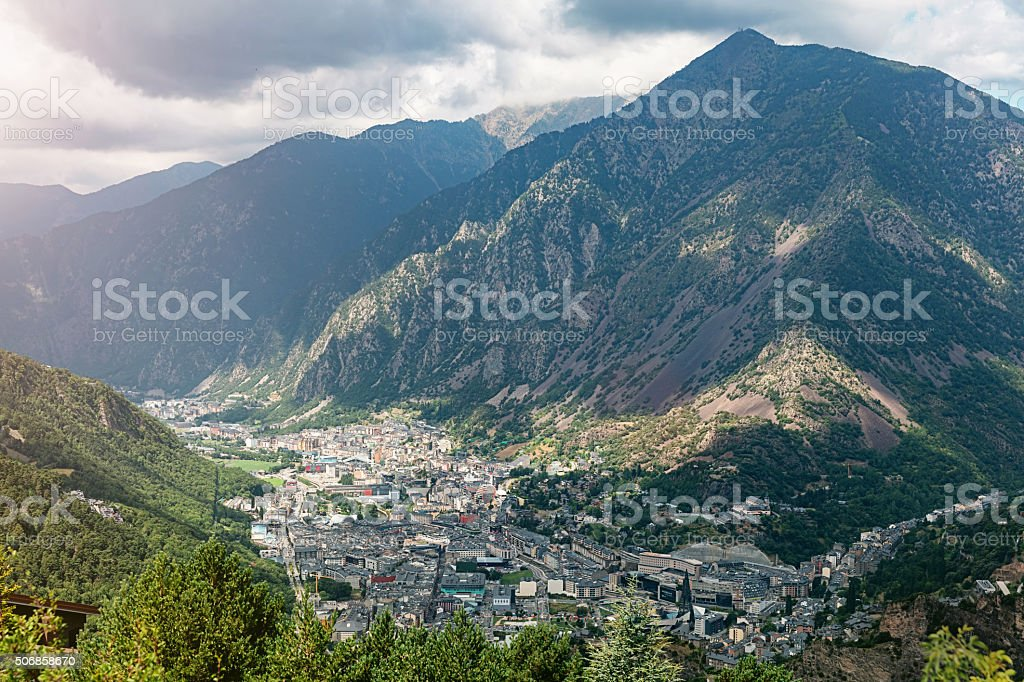 Andorra la Vella Pyrenees Mountains stock photo