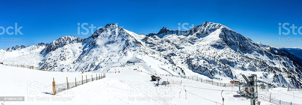 andorra mountain snow sky station gran valira winter panoramic stock photo