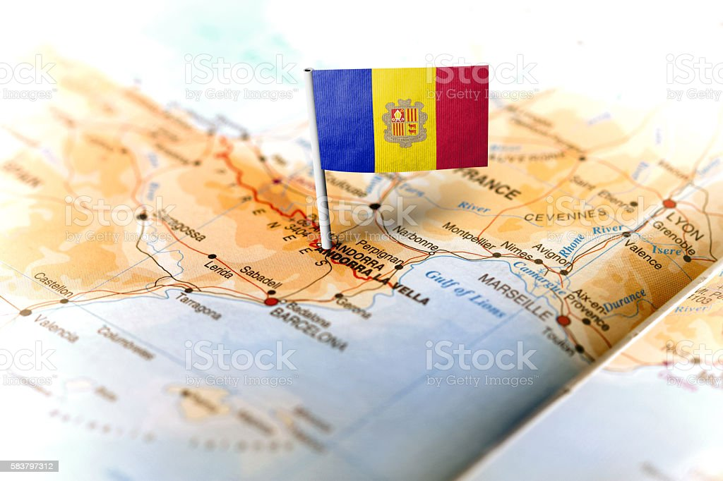 Andorra pinned on the map with flag stock photo