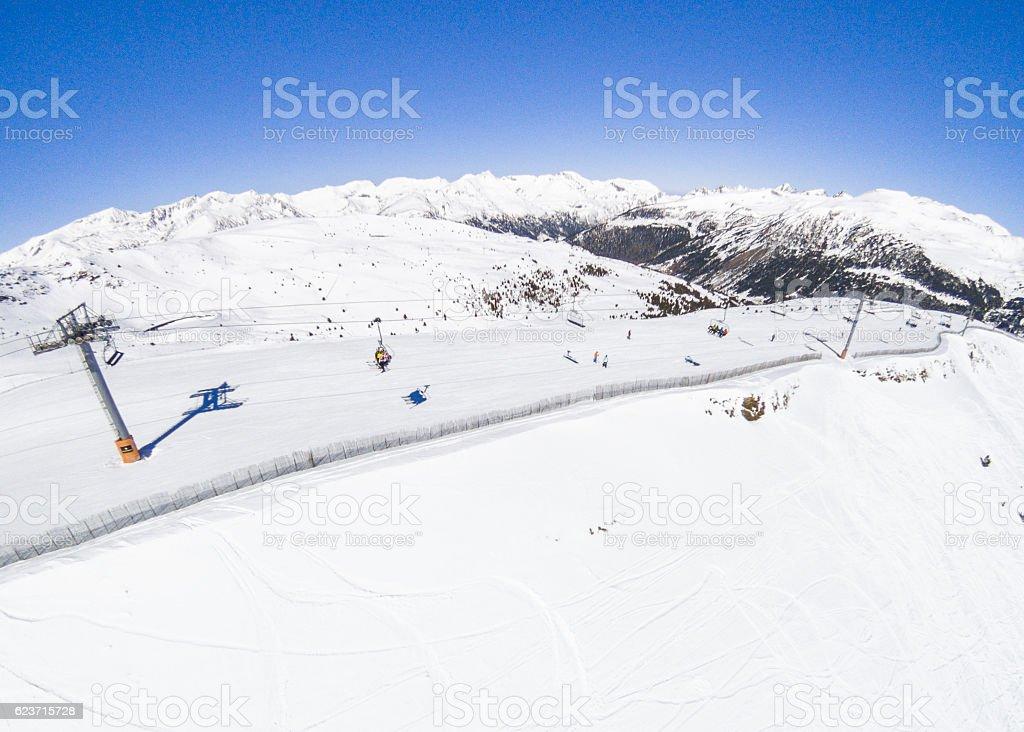 andorra ski slope snow elevator blank copy space aerial view stock photo