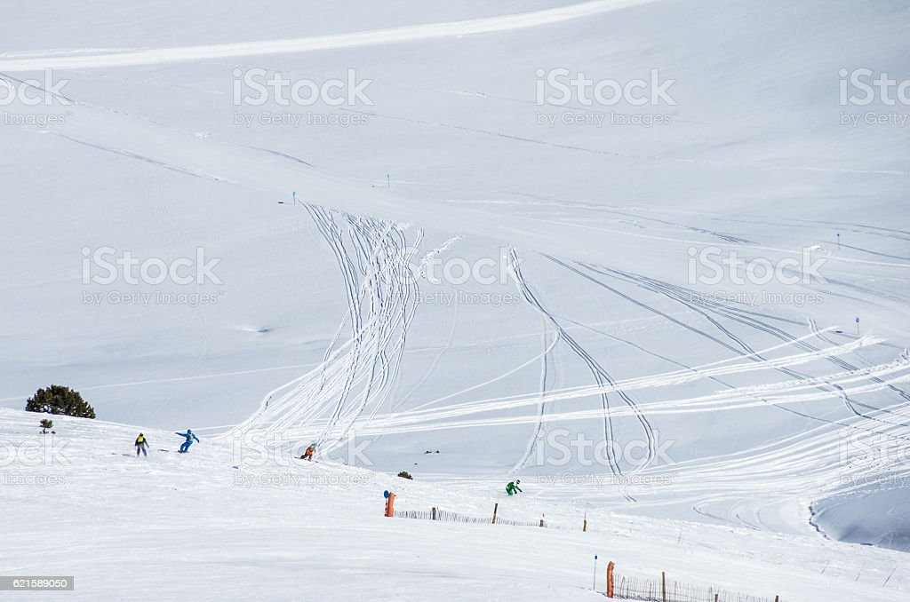andorra ski slope snow elevator blank copy space gran valira stock photo