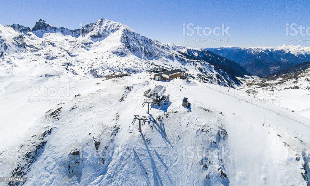 andorra ski slope snow elevator blank wide angle aerial view stock photo