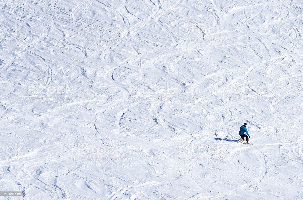 andorra ski slope snow marks blank copy space skier stock photo