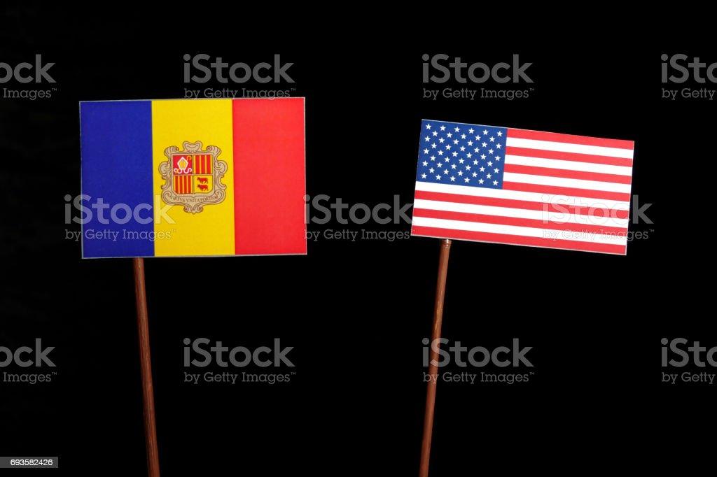 Andorran flag with USA flag isolated on black background stock photo