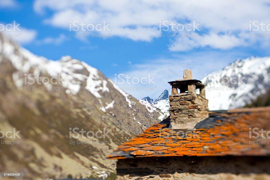 Andorran mountains and mountain house stock photo