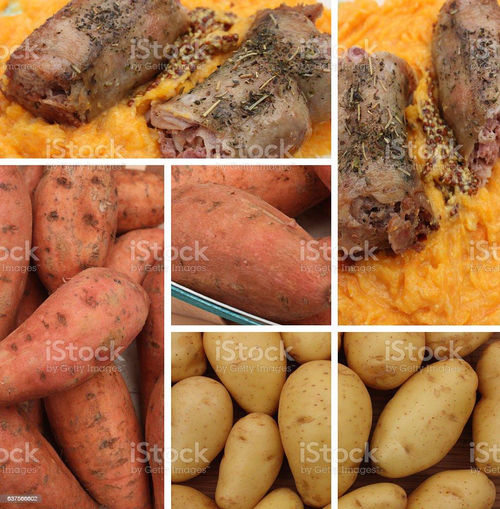 Andouillette Purée de Patate douce stock photo