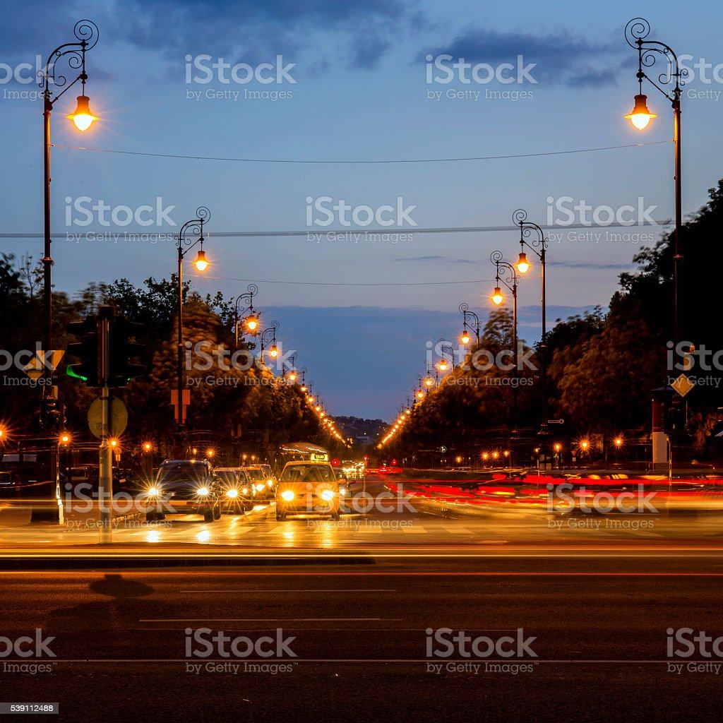 Andrassy Boulevard in Budapest at night stock photo