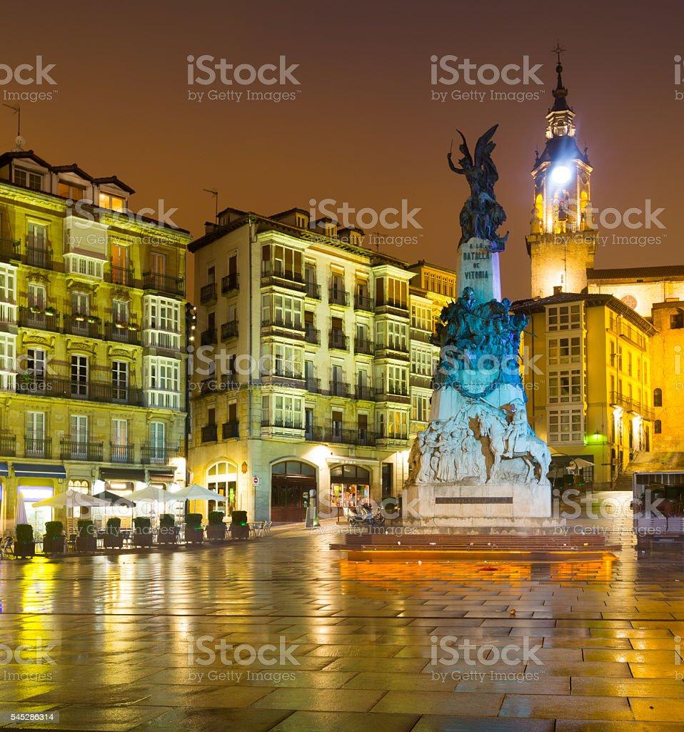 Andre Maria Zuriaren plaza in evening time.  Vitoria-Gasteiz stock photo