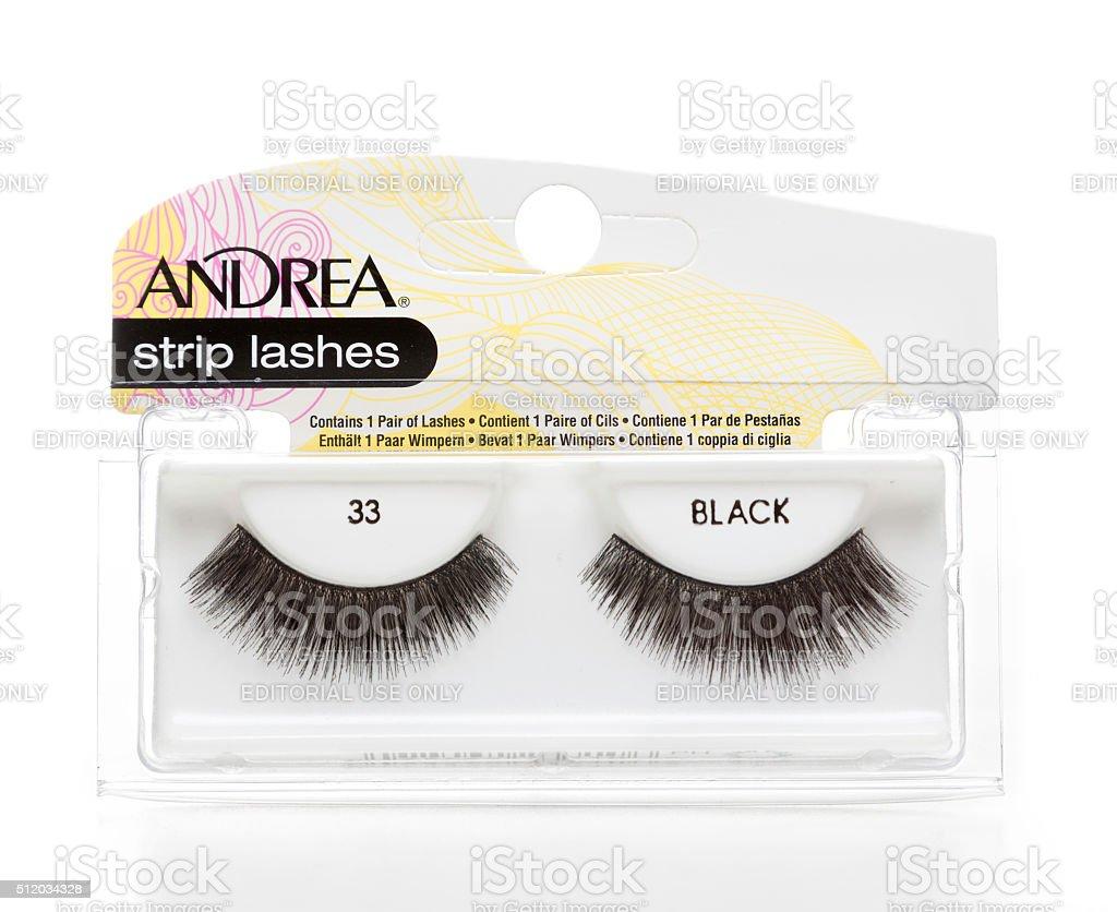 Andrea strip black lashes stock photo