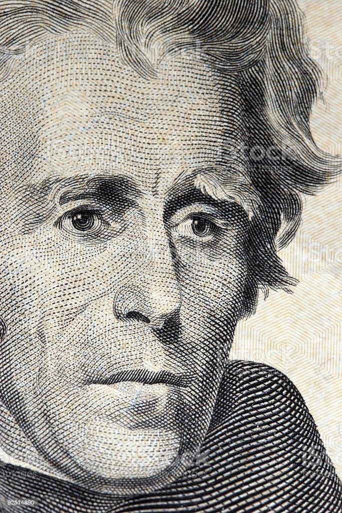 andrew jackson on 20 dollar bill royalty-free stock photo