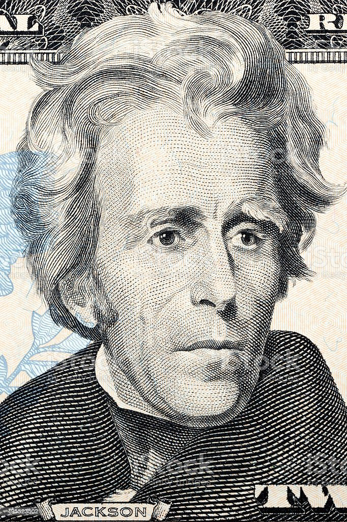 Andrew Jackson on twenty dollars stock photo