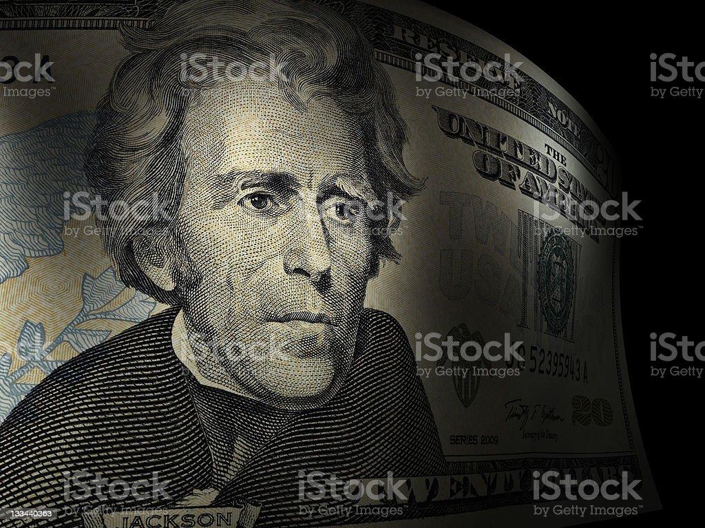 Andrew Jackson's close up in a twenty dollar bill royalty-free stock photo
