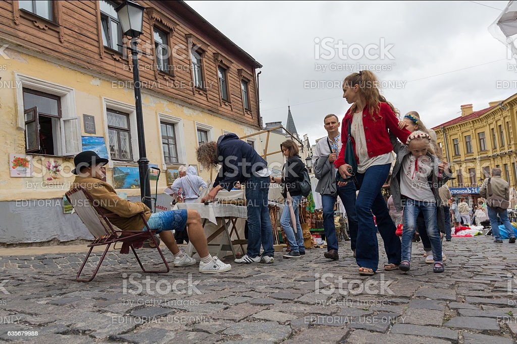 Andrew's Descent  - the historic part of the city Kiev stock photo