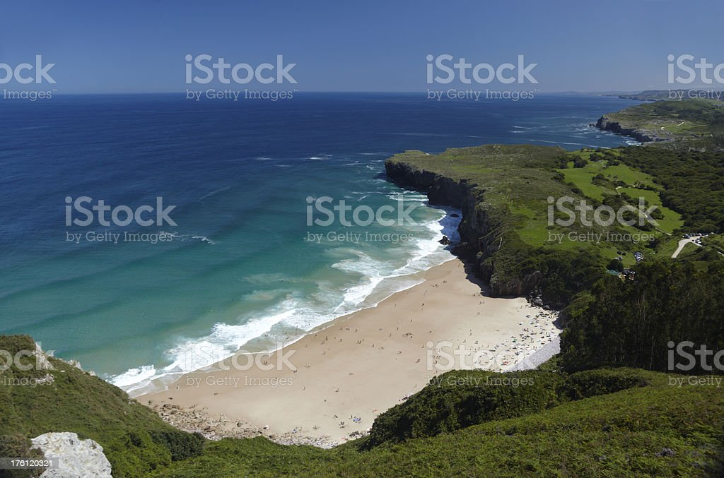 Andrin Beach and sea with clear blue sky stock photo