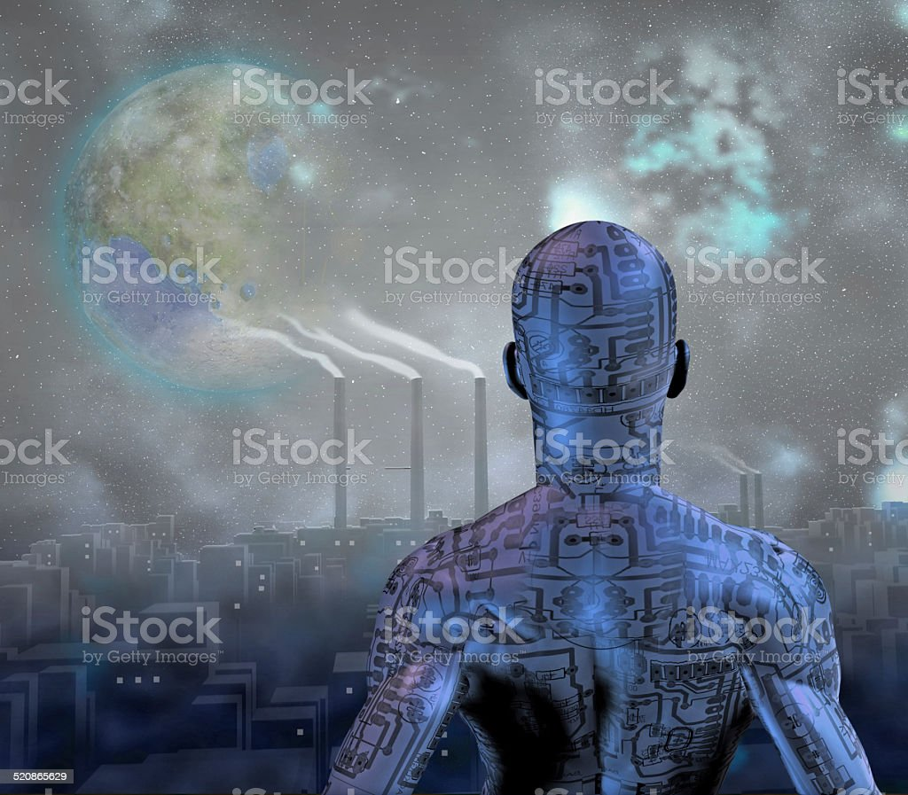 Android before smog filled city with terraformed moon in sky vector art illustration