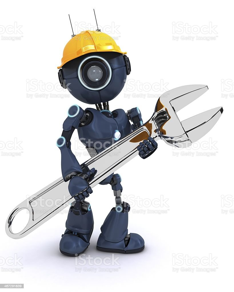 android builder with a wrench royalty-free stock photo