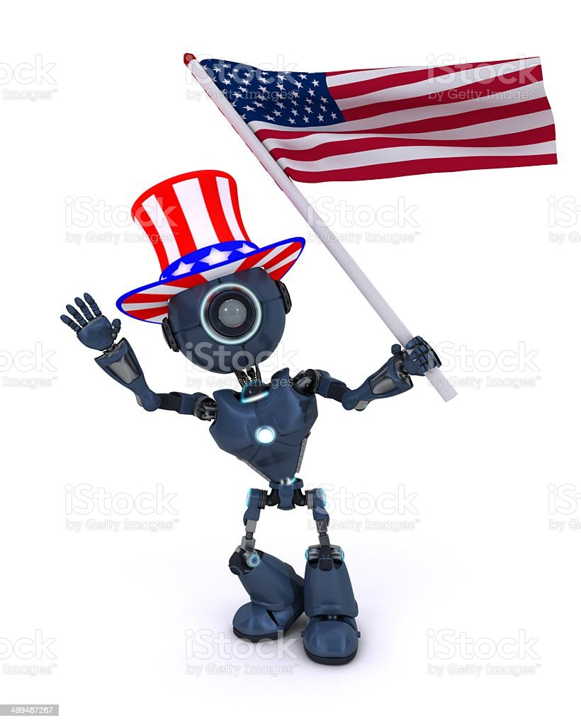Android celebrating 4th july royalty-free stock photo