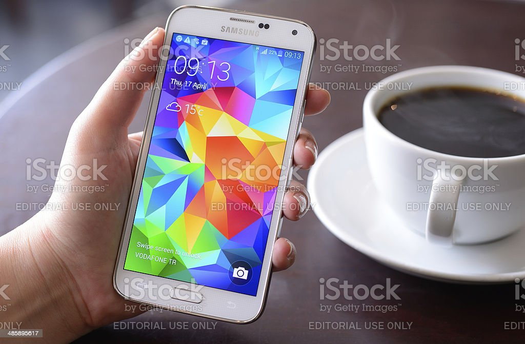 Android on Samsung Galaxy S5 smart phone stock photo