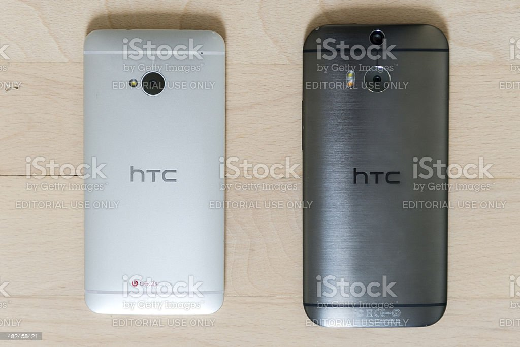 Android phones from HTC - One M7 and M8 royalty-free stock photo