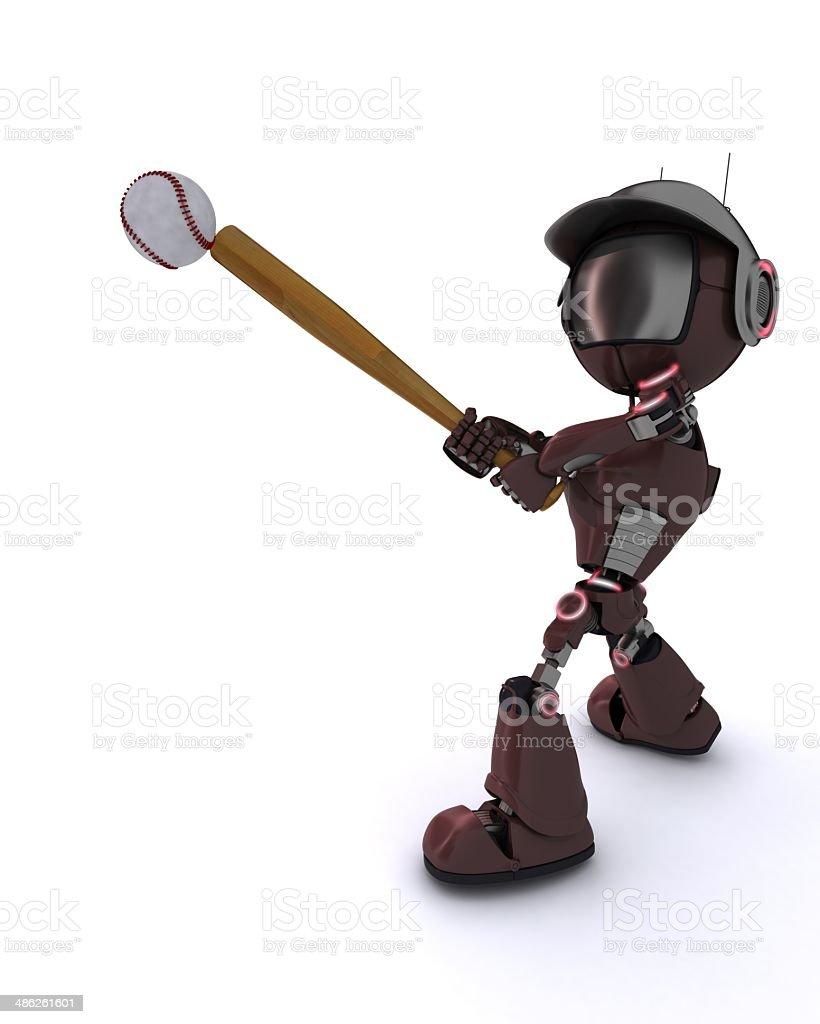 Android playing baseball royalty-free stock photo